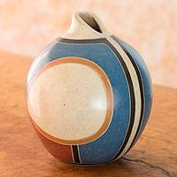 Ceramic decorative vase, 'Modern Teardrop' - Fair Trade Pear Shaped Terracotta Decorative Vase