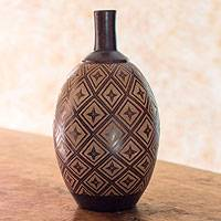 Ceramic decorative vase, 'Earth Stars' - Hand Engraved Terracotta Vase from Nicaragua
