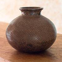Ceramic decorative vase, 'Earth Geometry' - Nicaraguan Handcrafted Terracotta Decorative Vase