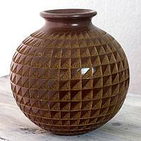 Ceramic decorative vase, 'Sails' - Fair Trade Ceramic Vase from Nicaragua