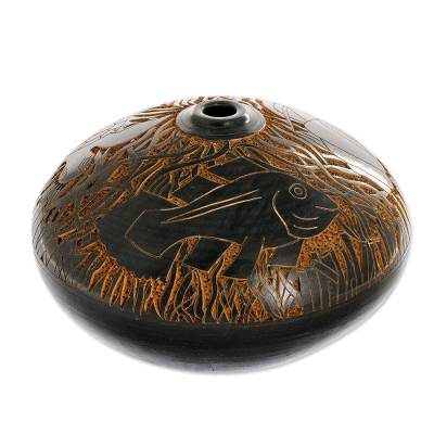Ceramic decorative vase, 'Marine Voyage' - Hand Crafted Etched Decorative Ceramic Vase from Nicaragua