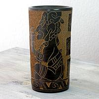 Ceramic decorative vase, 'Maya Warrior' - Cylindrical Terracotta Maya Theme Vase from Nicaragua
