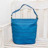Leather shoulder bag, 'Ocean Blue' - Lined Leather Shoulder Bag