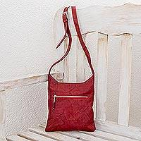 Leather shoulder bag, 'Scarlet Fire' - Red Leather Shoulder Bag
