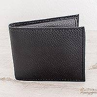 Men's leather wallet, 'Black Knight' - Men's Leather Wallet with Coin Pocket