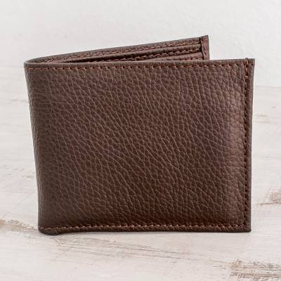 Men's leather wallet, 'Cocoa Finance' - Men's Leather Multi-pocket Wallet with Extractable ID