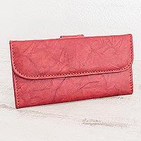 Leather wallet, 'Crimson Credit' - Multi-pocket Red Leather Wallet for Women