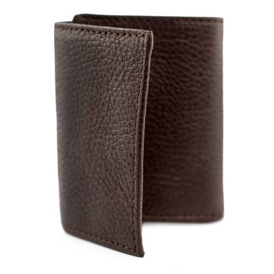 Men's leather wallet, 'Cocoa Economy' - Practical Brown Leather Wallet for Men