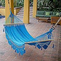 Cotton hammock, 'Coco Beach' (single) - Handmade Blue Cotton Hammock from Nicaragua (Single)