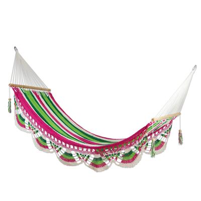 Cotton hammock, 'Tropical Watermelon' (single) - Handmade Cotton Hammock from Nicaragua (Single)
