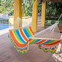 Cotton hammock, 'Tropical Colors' (single) - Handmade Multicolor Cotton Hammock from Nicaragua (Single)