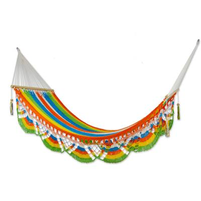 Cotton hammock, 'Tropical Colors' (single) - Handmade Multicolor Cotton Hammock from Nicaragua (Single)