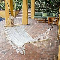 Cotton hammock, 'Montelimar Sands' (single) - Handmade White Cotton Hammock from Nicaragua (Single)