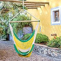 Cotton hammock swing, 'Lemon Lime' - Hand Woven Nicaraguan Cotton Hammock