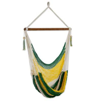Cotton hammock swing, 'Lemon Lime' - Handcrafted Cotton Hammock Swing in Green and Yellow