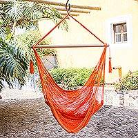 Cotton hammock swing, 'Tropical Tangerine' - Handcrafted Orabge Cotton Hammock Swing