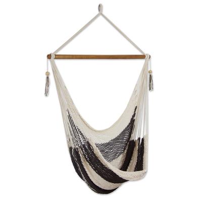 Cotton hammock swing, 'Espresso and Cream' - Handcrafted Cotton Hammock Swing in Dark Brown and Ivory