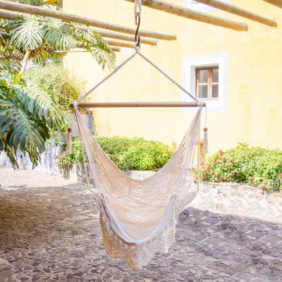 Cotton hammock swing, 'Montelimar Sands' - Handcrafted Cotton Hammock Swing