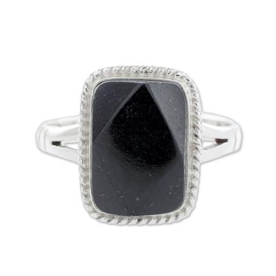 Black jade cocktail ring, 'Black Maya Princess' - Black Jade Ring
