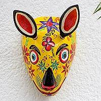 Wood mask, 'Yellow Squirrel' - Guatemala Squirrel Folk Dance Mask
