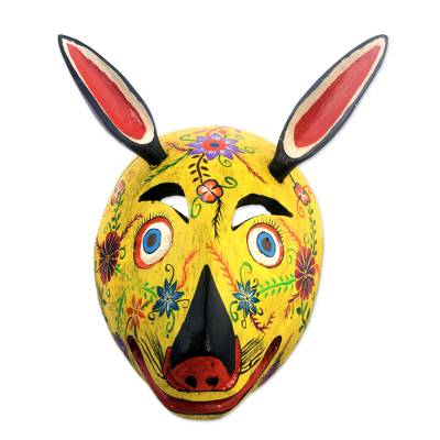 Wood mask, 'Yellow Squirrel' - Guatemala Squirrel Folk Dance Mask