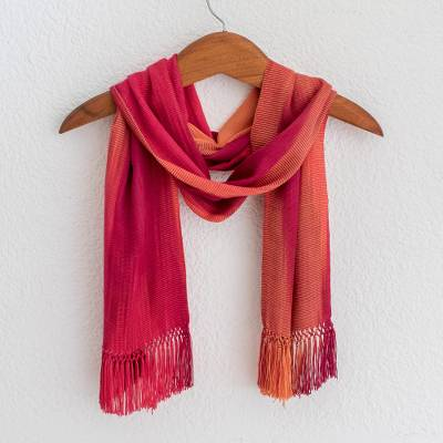 Rayon chenille scarf, 'Solola Fire' - Handcrafted Bamboo fibre Scarf