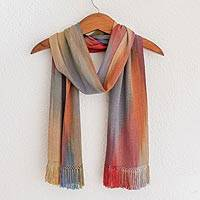 Rayon chenille scarf, 'Solola Afternoon' - Hand Woven Bamboo Fiber Multi-Colored Scarf