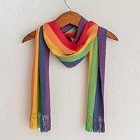Rayon chenille scarf, 'Solola Rainbow' - Hand Woven Rayon Chenille Scarf