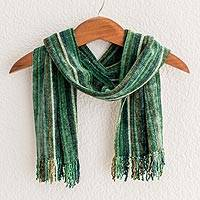 Rayon chenille scarf, 'Rainforest'
