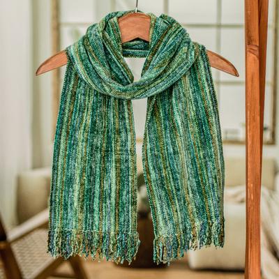 Rayon chenille scarf, 'Rainforest' - Guatemalan Bamboo Chenille Scarf