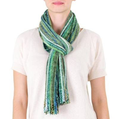 Rayon chenille scarf, 'Rainforest' - Guatemalan Bamboo Chenille Scarf