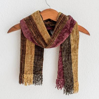 Rayon chenille scarf, 'Warm Heart' - Rayon Chenille Scarf Woven by Hand