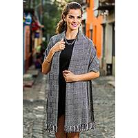 Rayon chenille shawl, 'Monochrome Riddle' - Black and White Handcrafted Rayon Chenille Shawl