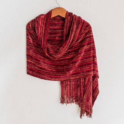 Rayon chenille shawl, 'Crimson Fantasy' - Guatemalan Handcrafted Bamboo Chenille Shawl