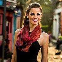 Rayon chenille infinity scarf, 'Fiery Ethereal Inspiration' - Bamboo Fiber Red Infinity Scarf