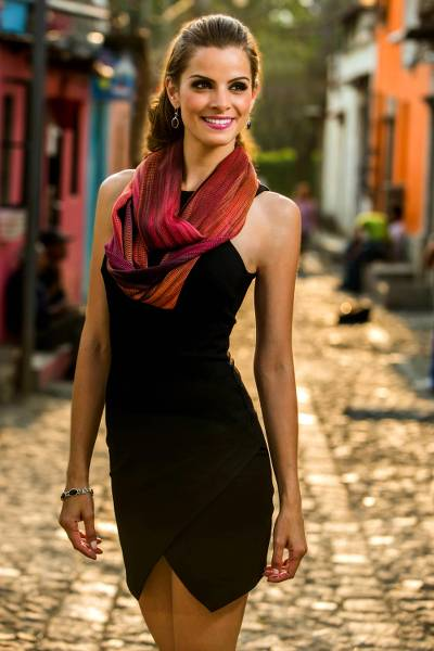Rayon chenille infinity scarf, 'Fiery Ethereal Inspiration' - Handcrafted Bamboo fibre Infinity Scarf