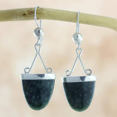 Jade dangle earrings, 'Power of Life' - Artisan Crafted Jade and Sterling Silver Earrings