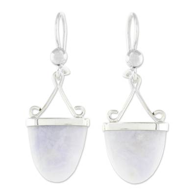 Artisan Crafted Lilac Jade and Sterling Silver Earrings