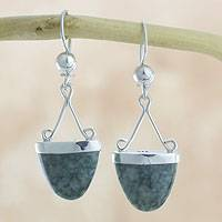Jade dangle earrings, 'Power of Life' - Artisan Crafted Green Jade Sterling Silver Earrings