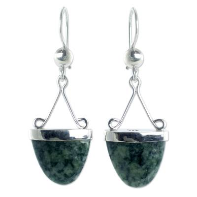 Artisan Crafted Light Green Jade Sterling Silver Earrings