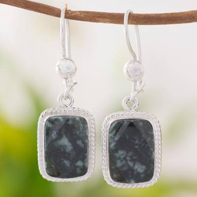 Jade dangle earrings, 'Maya Forest Princess' - Artisan Crafted Jade and Sterling Silver Earrings