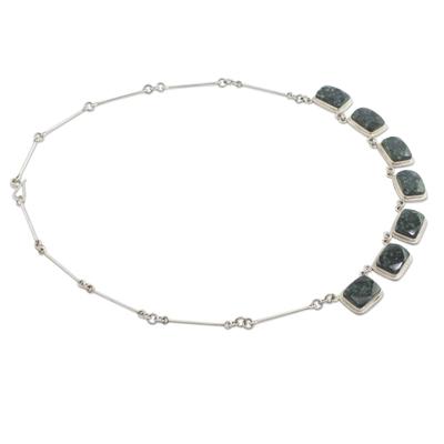 Dark green jade pendant necklace, 'Maya Forest Princess' - Dark Green Jade Necklace Silver Artisan Jewelry