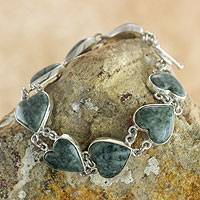 Light green jade heart bracelet, 'Love Immemorial' - Heart Shaped Jade Sterling Silver Link Bracelet