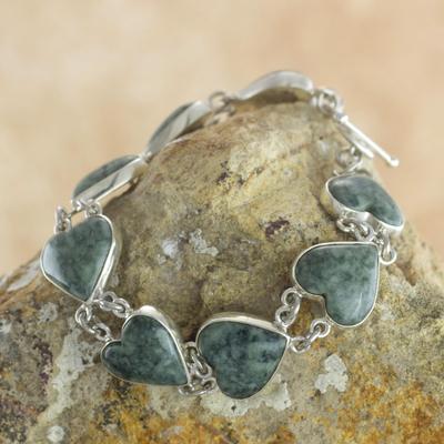 Light green jade heart bracelet, 'Love Immemorial' - Heart Shaped Jade Sterling Silver Link Bracelet
