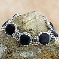 Black jade link bracelet, 'Square Circle' - Artisan Crafted Black Jade and Sterling Silver Bracelet