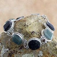 Jade link bracelet, 'Ya'ax Chich Enigma' - Light and Dark Green Jade Bracelet Silver Artisan Jewelry