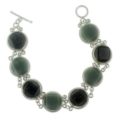 Jade link bracelet, 'Ya'ax Chich Enigma' - Light and Dark Green Jade Bracelet Silver Artisan Jewelry