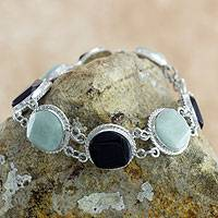 Black and green jade link bracelet, 'Ya'ax Chich Enigma' - Black and Green Jade Bracelet Silver Artisan Jewelry
