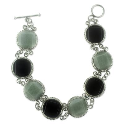 Black and green jade link bracelet, 'Ya'ax Chich Enigma' - Black and Green Jade Bracelet Silver Artisan Jewelry