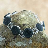 Jade link bracelet, 'Night Forest' - Artisan Crafted Black Jade and Sterling Silver Bracelet